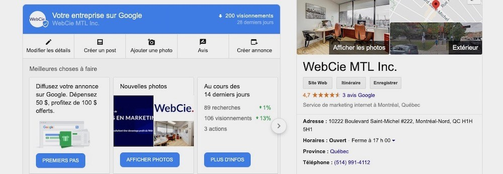 Page de Google My Business pour agence de réréfencement naturel