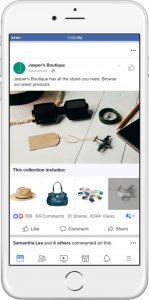 Publicités Facebook de type collection