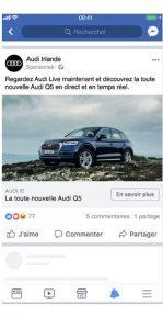 Publicité Facebook de type image
