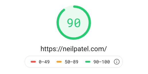 exemple vitesse de site web sur PageSpeed Insight